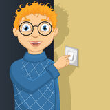 Vector Illustration Of A Little Boy Switching On L Stock Photo