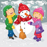 Vector Illustration Of Kids Making Snowman. 