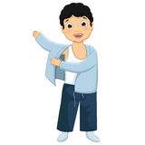Boy Wearing Pajamas Vector Illustration. 