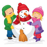 Vector Illustration Of Kids Making Snowman Stock Photos