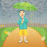 Vector Illustration Of A Little Boy Under Umbrella. In Raincoat Standing in the Rain Stock Photo