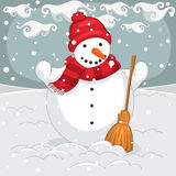 Vector Illustration Of A Snowman Royalty Free Stock Photo