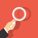 Vector Illustration Of A Magnifying Glass in Hand. 