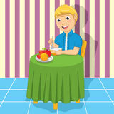 Little Boy Eating Meal Vector Illustration. 