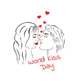 World kiss day. Kissing loving couple. A man and a woman Stock Photography