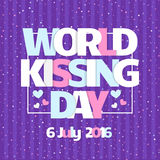 World Kissing Day  card. Celebrate Kissing Day with hearts. In the background. Colorful illustration. Cute design. Typography poster Stock Photo