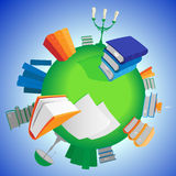 World of knowledge. Multicolored books on green planet. Vector illustration Royalty Free Stock Image