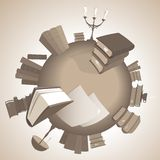 World of knowledge in sepia. World of knowledge. Vector illustration Stock Photos