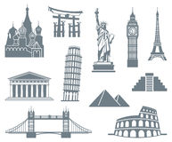 World Landmark Icon Set Stock Photos