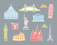 World Landmark Icon Set Royalty Free Stock Photos