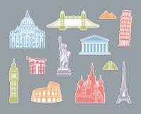 World Landmark Icon Set Royalty Free Stock Photos