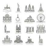 World Landmark Icon Set Royalty Free Stock Images