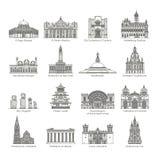 World Landmark Icon Set Stock Image