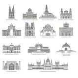 World Landmark Icon Set Royalty Free Stock Image