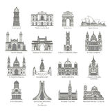 World Landmark Icon Set Royalty Free Stock Image