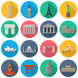 World Landmark Icon Set Stock Photography