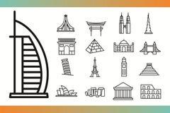 World landmark icons Royalty Free Stock Photos