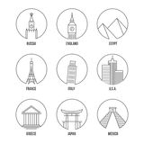 World landmark line art icons set. Greece, Eiffel and Leaning towers, Russia France and europe city, England Italy Egypt. Vector illustration Royalty Free Stock Image