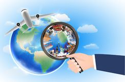 World landmark in magnifying glass with airplane vector illustration