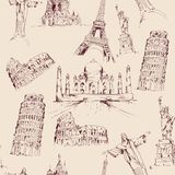 World landmark seamless pattern Royalty Free Stock Photos