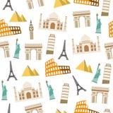 World Landmark seamless pattern  on white background. With Taj Mahal, Pyramids, Coliseum, Tower of Pisa, Arc de Triomphe, Eiffel Tower, Statue of Liberty and Stock Photos