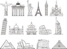 World landmark set. Popular world wonder landmark set Stock Images