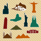 World landmark silhouettes Royalty Free Stock Image