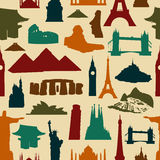 World landmark silhouettes pattern Stock Photography