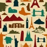 World landmark silhouettes pattern Stock Photography