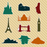 World landmark silhouettes set Royalty Free Stock Images