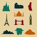 World landmark silhouettes set Royalty Free Stock Images