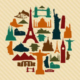 World landmark silhouettes set Royalty Free Stock Photos