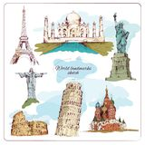 World landmark sketch colored Stock Photography