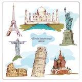World landmark sketch colored stock illustration
