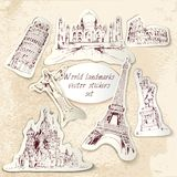 World landmark stickers Royalty Free Stock Photo