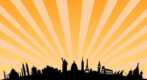 World landmarks background. Vector illustration with travel landmarks. including silhouettes of most famous landmarks and monuments of all the continents, from Stock Images