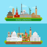 World landmarks banners Royalty Free Stock Image
