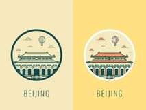 World landmarks. China. Travel and tourism background. Line icons. Vector Stock Photo