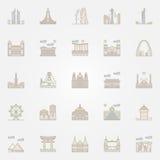 World landmarks colorful icons Royalty Free Stock Photo