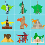 World Landmarks. countries of the world. Vector. Illustration Royalty Free Stock Photography