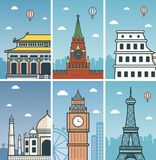 World Landmarks design with Cities skylines.. Beijing, Moscow, Rome, Agra, London and Paris cities skylines design with landmarks. Vector illustration Royalty Free Stock Photo