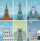 World Landmarks design with Cities skylines. World Landmarks design with Cities skylines. Moscow, Paris, Kamakura, Rome, Chichen Itza and Agra cities skylines Royalty Free Stock Photo
