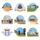 World landmarks flat icon set Stock Photo