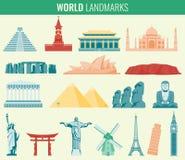World landmarks flat icon set. Travel and Tourism. Vector Stock Photography