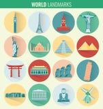 World landmarks flat icon set. Travel and Tourism. Vector Royalty Free Stock Photo