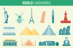 World landmarks flat icon set. Travel and Tourism. Vector Stock Images