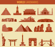 World landmarks flat icon set. Travel and Tourism. Vector Royalty Free Stock Photos
