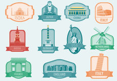 World landmarks flat icon set. Travel and Tourism. Vector Royalty Free Stock Images