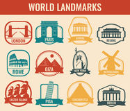 World landmarks flat icon set. Travel and Tourism. Vector Royalty Free Stock Photography