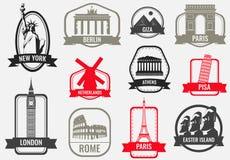 World landmarks flat icon set. Travel and Tourism. Vector Stock Image